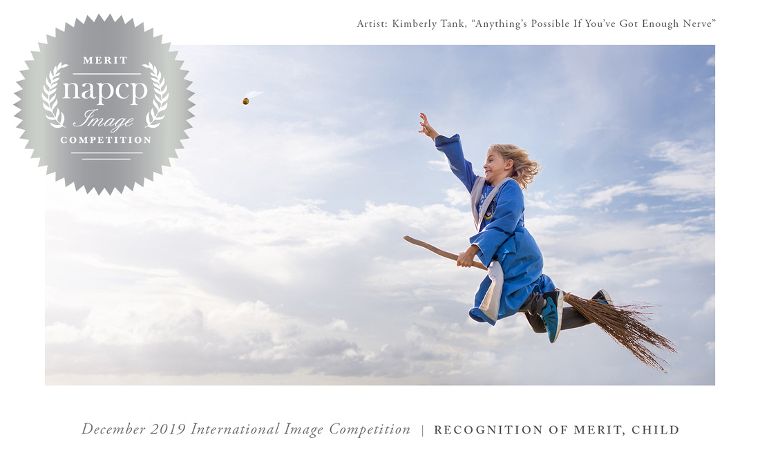 Harry Potter inspired image of boy in Quidditch robes flying on broomstick catching snitch