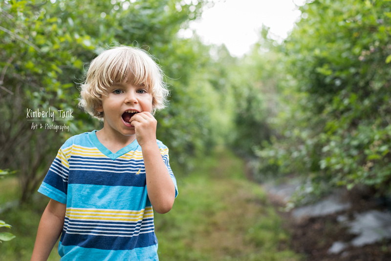 picking and eating blueberries at Morning Belle Blueberry Farm in Woodbine GA