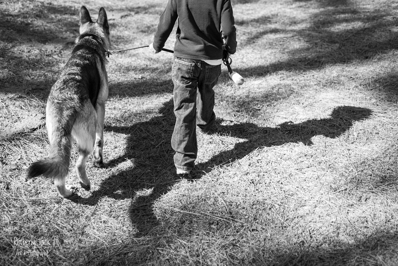 young boy and his German shepherd dog