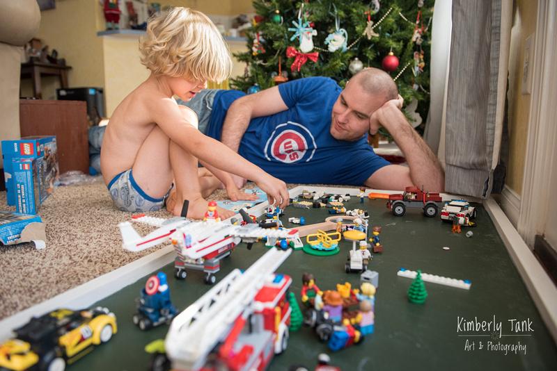 dad & boy building legos